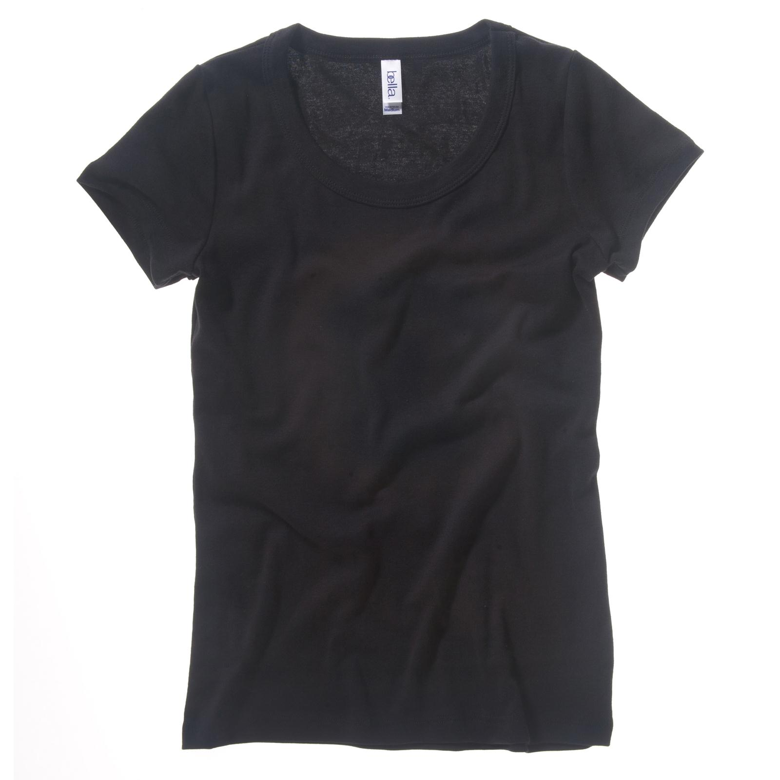 New bella canvas womens ladies cotton baby rib scoop neck Womens black tee shirt