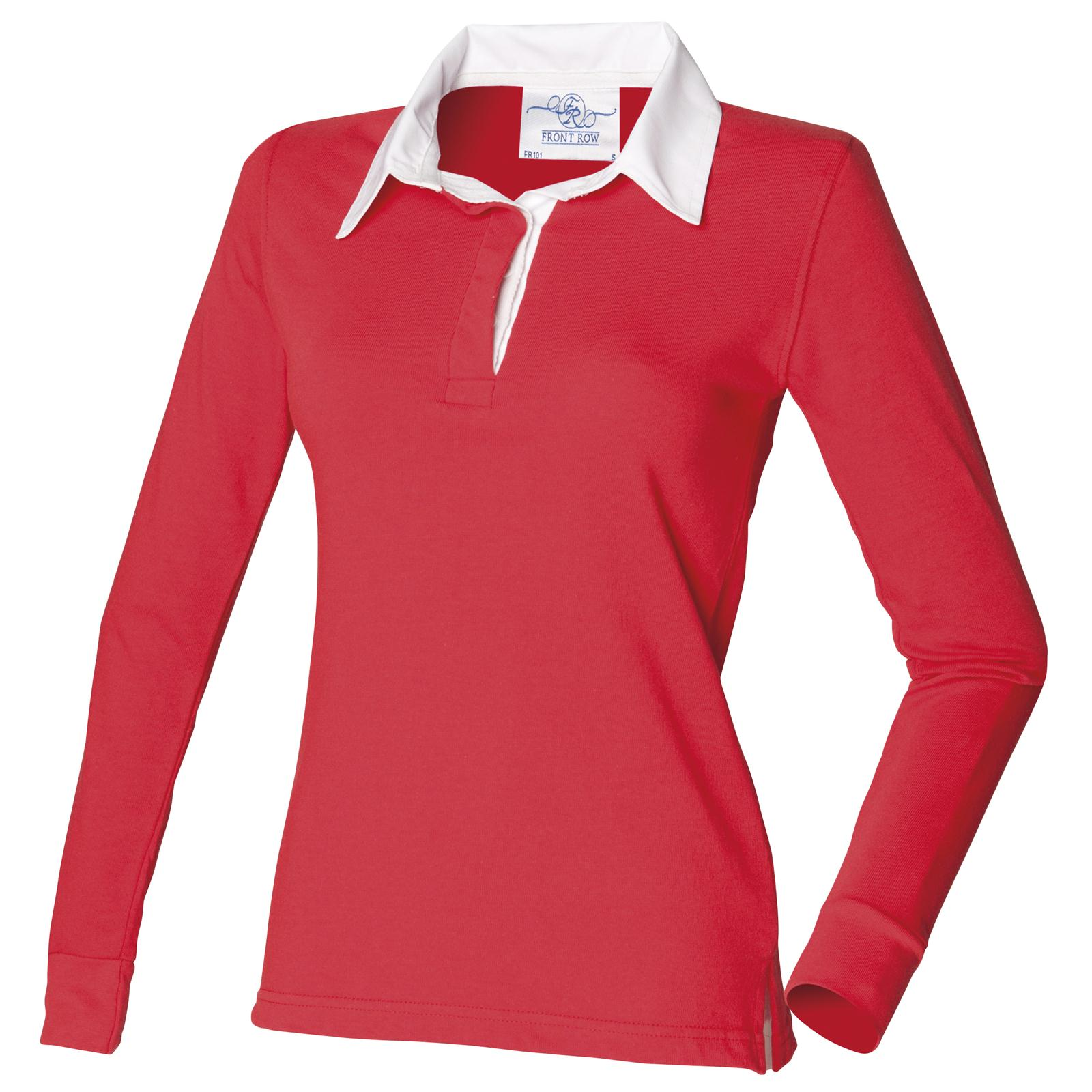 New Front Row Womens Ladies Long Sleeve Plain Rugby Style