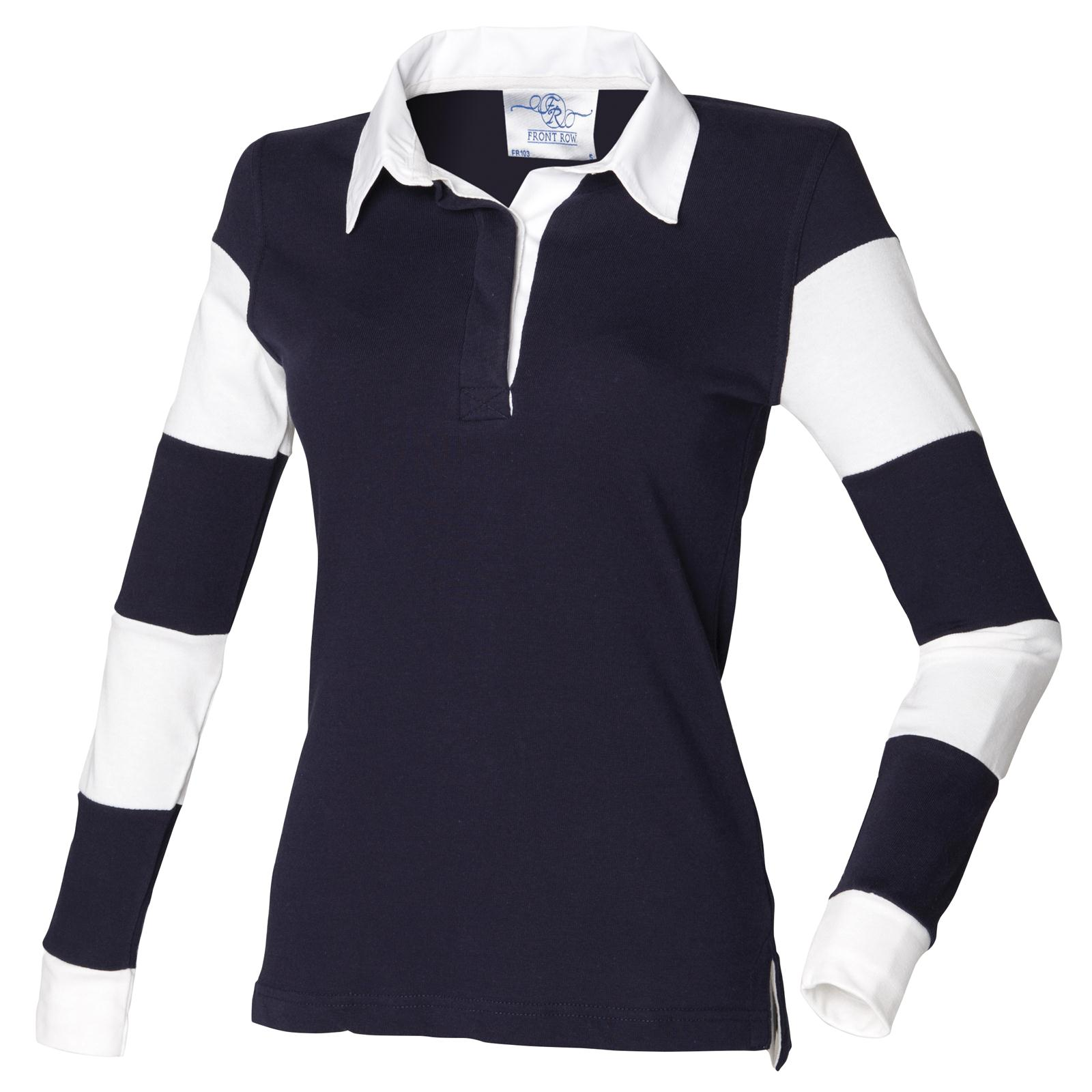 new front row womens striped sleeve rugby style