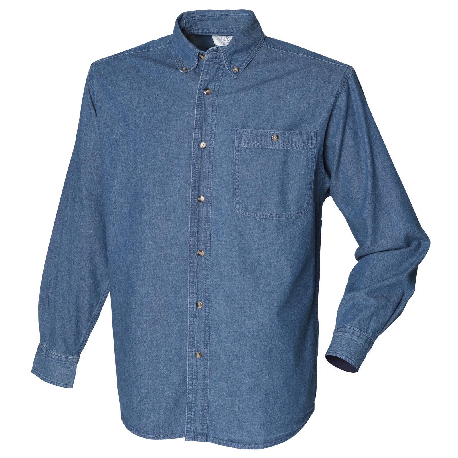Nouveau Chemise FRONT ROW Homme Manche Longue Léger Jean Coton  in Blue S-XXL