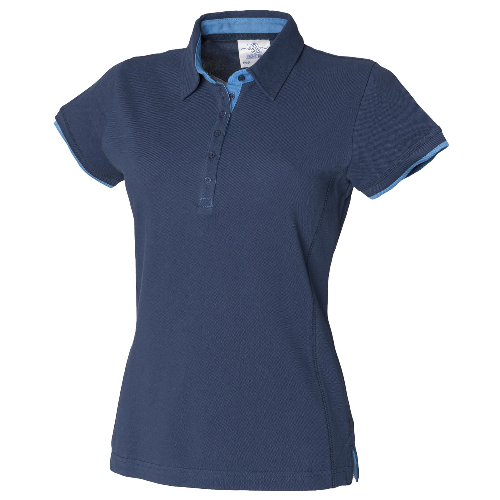 New front row womens ladies fitted pique polo shirt in 2 for Ladies pique polo shirts