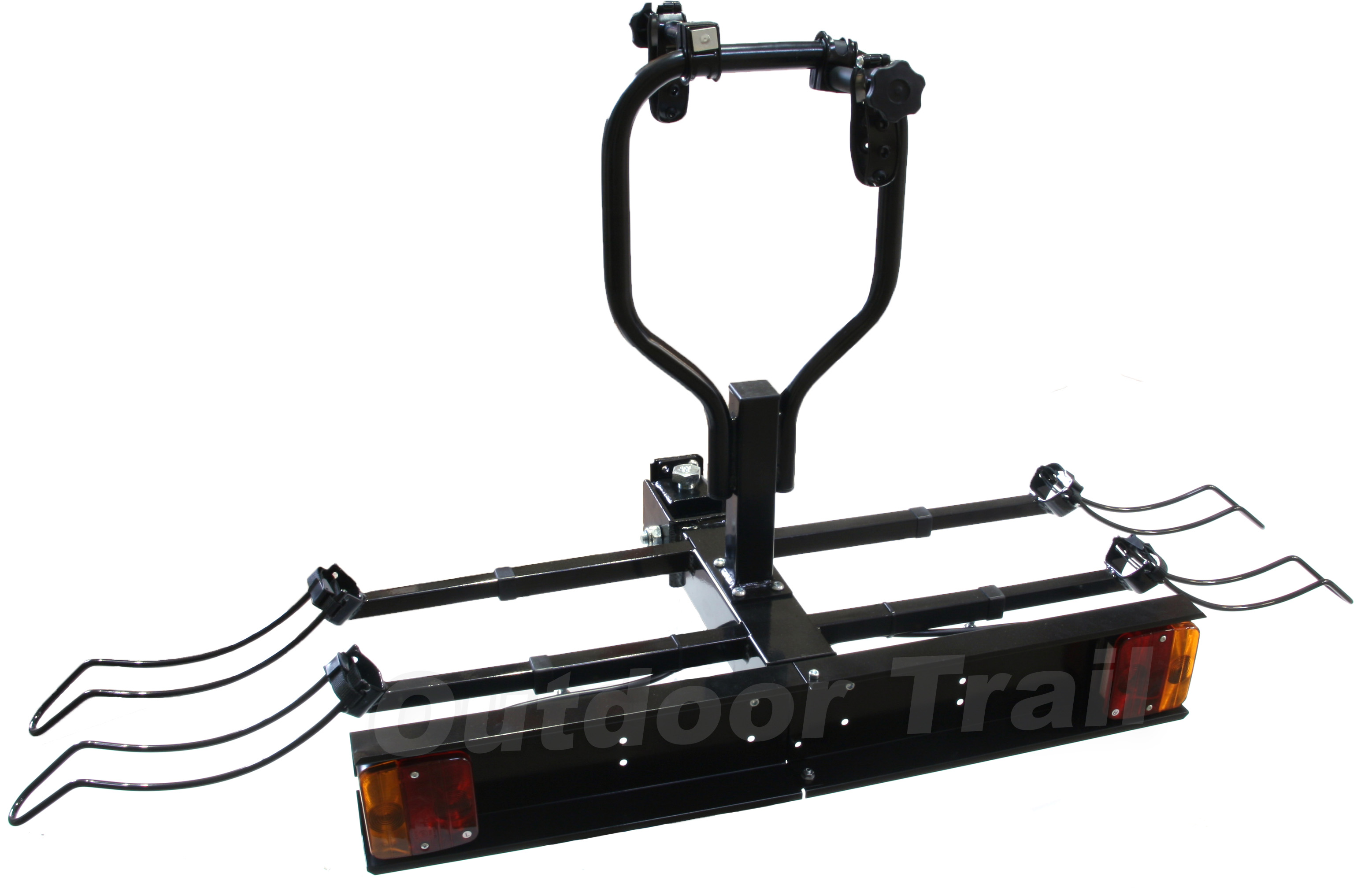 towbar 2 cycle tiltable bike rack carrier with lighting board