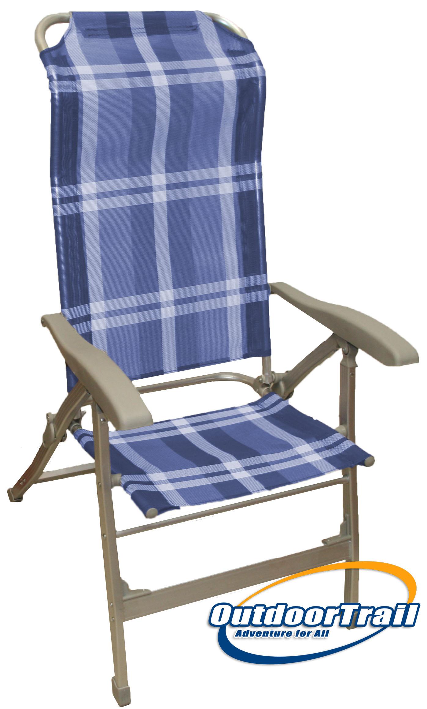 Lightweight alloy recliner folding camping caravan chair blue