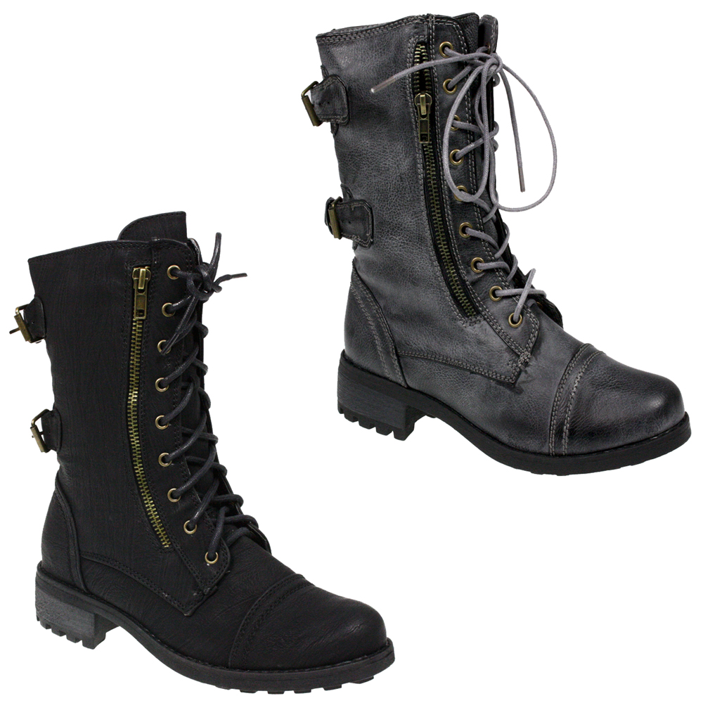 womens lace up zip army black combat ankle