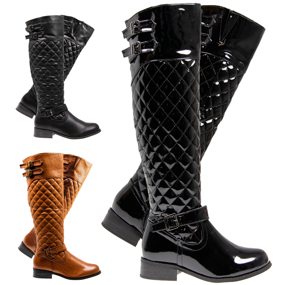 womens knee high quilted zip buckle gusset