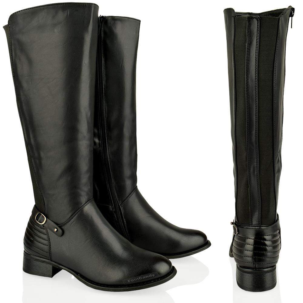 WOMENS-LADIES-KNEE-HIGH-FLAT-ZIP-GUSSET-BUCKLE-RIDING-WINTER-LOW-HEEL-BOOTS-SIZE