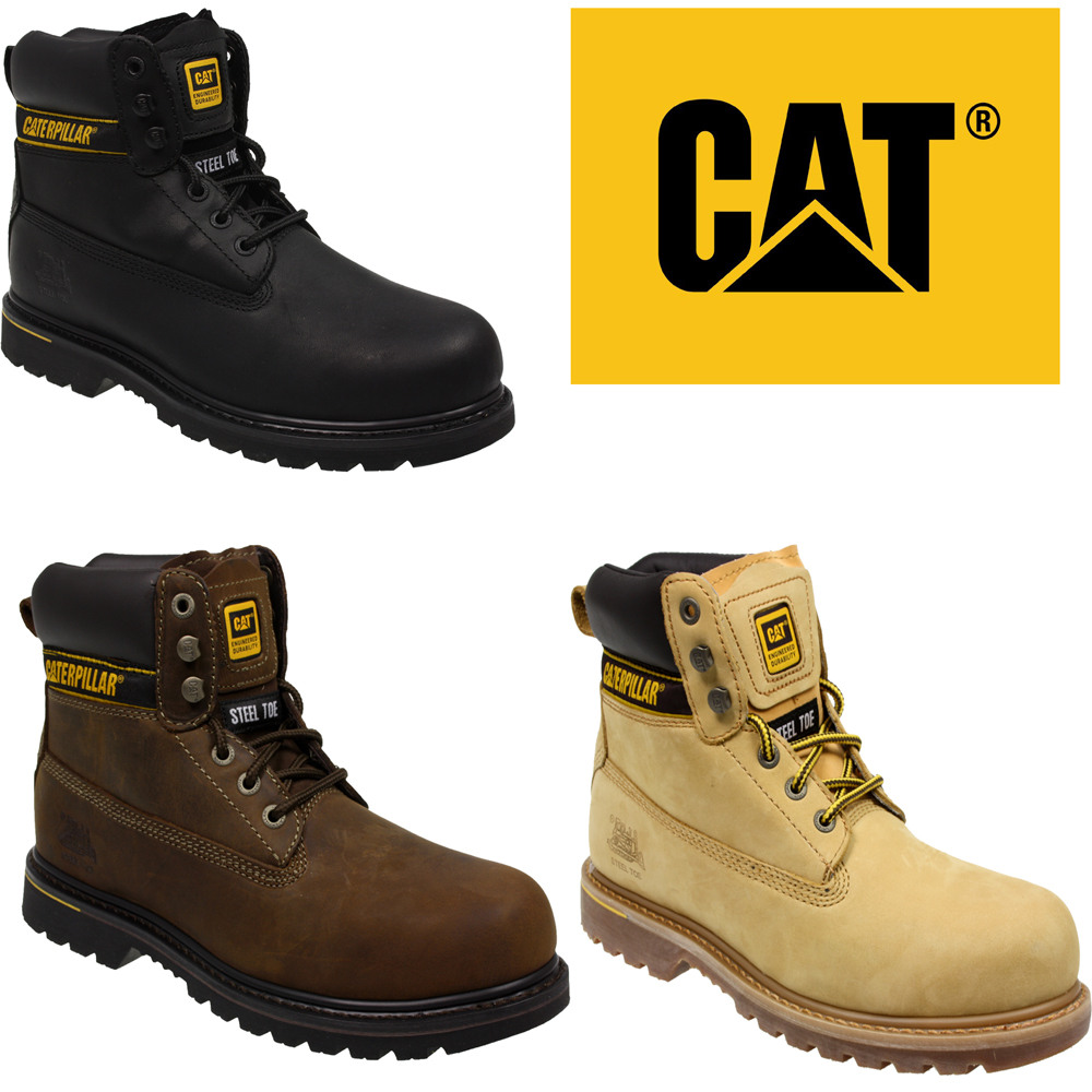 MENS CATERPILLAR CAT HOLTON STEEL TOE WORK SAFETY LEATHER SHOES BOOTS SIZE | EBay