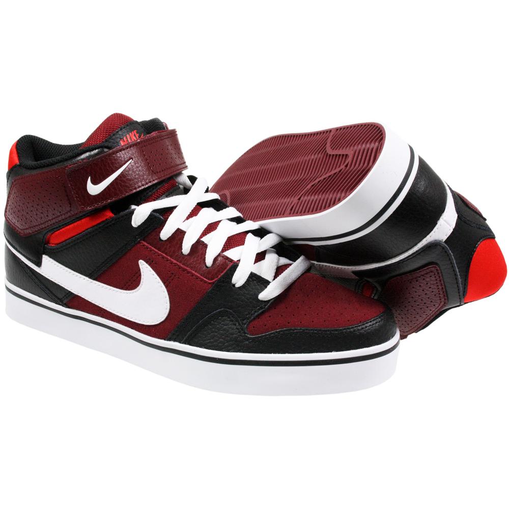 nike mens mogan mid 2 se skateboard red black leather mid. Black Bedroom Furniture Sets. Home Design Ideas