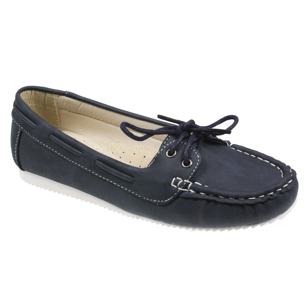 WOMENS-LADIES-FLAT-LEATHER-COMFORT-INSOLE-LACE-LOAFER-PUMPS-BOAT-SHOES-SIZE