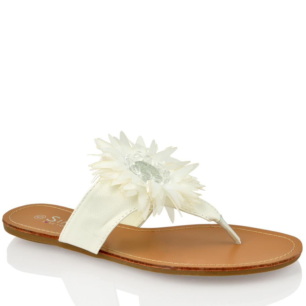WOMENS-LADIES-DIAMANTE-FLOWER-FLAT-FLIP-FLOP-SUMMER-LEATHER-SOCK-SANDALS-SIZE
