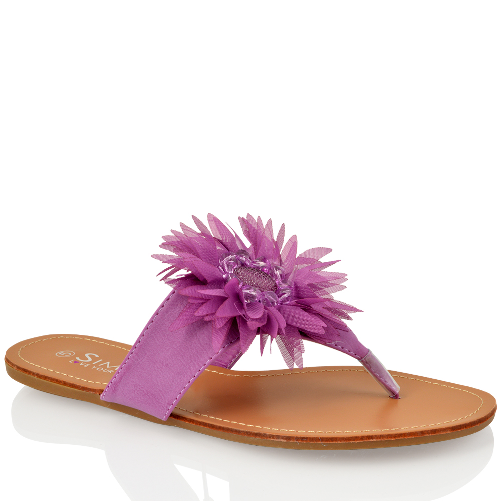 WOMENS-LADIES-DIAMANTE-FLOWER-FLAT-FLIP-FLOP-SUMMER-LEATHER-SOCK-SANDALS-SIZE