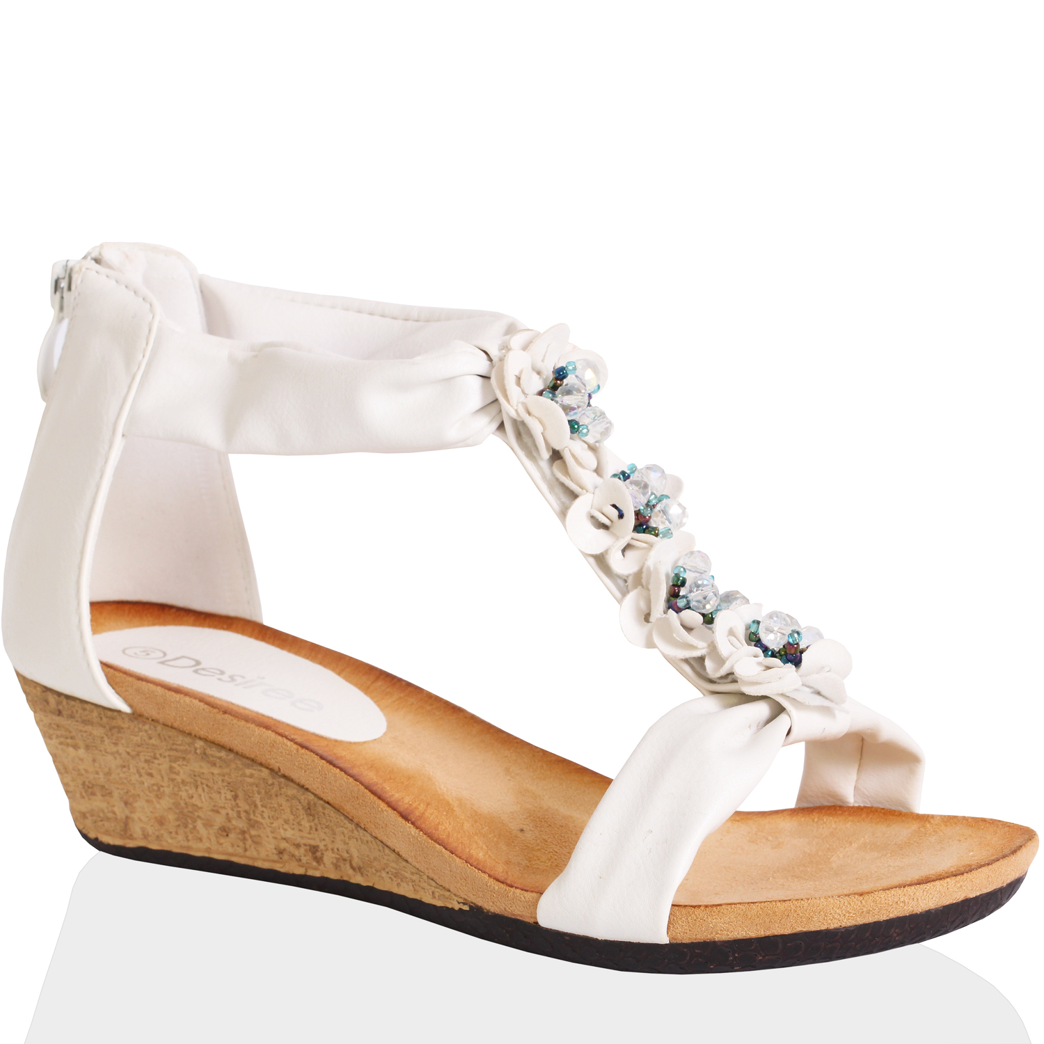 WOMENS-LADIES-LOW-WEDGE-HEEL-FASHION-DIAMANTE-FLOWER-ZIP-SANDALS-SUMMER-SIZE