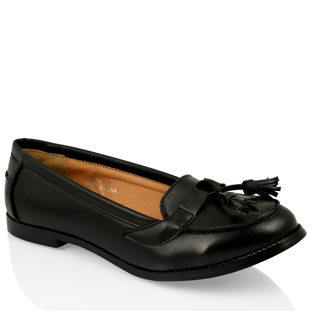 WOMENS-LADIES-FLAT-CASUAL-TASSELL-LOAFERS-SMART-WORK-OFFICE-PUMPS-SHOES-SIZE