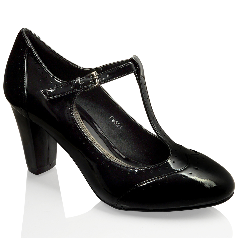 Black T Bar Platform Court Shoes