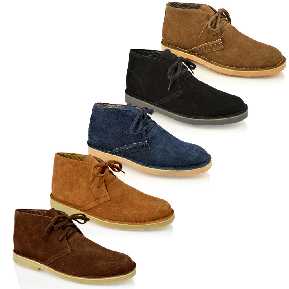 MENS CLASSIC FAUX SUEDE LEATHER DESERT CHUKKA CASUAL ANKLE BOOTS