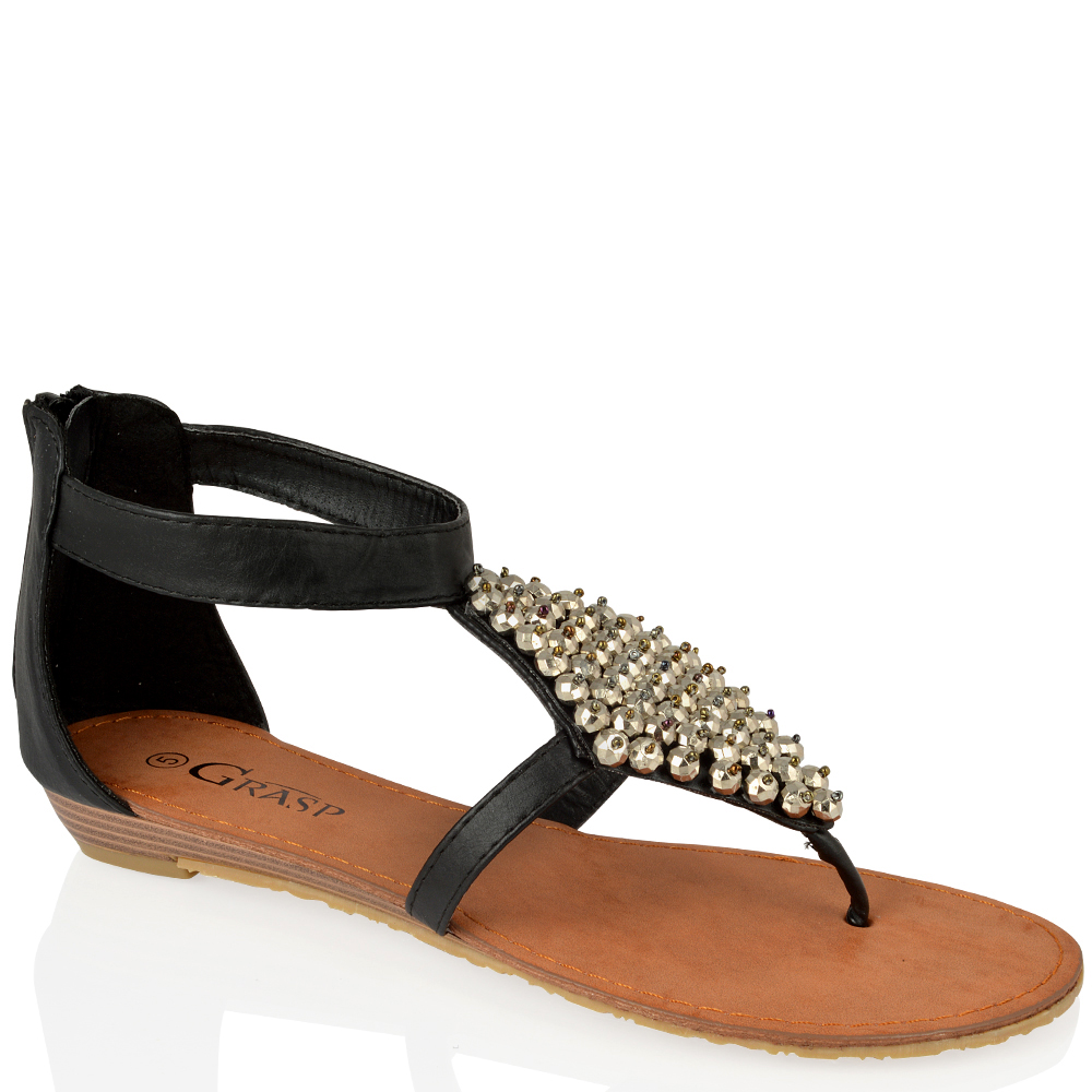 damen flach rei verschlu kn chel crystal zehensteg sommer modische sandalen ebay. Black Bedroom Furniture Sets. Home Design Ideas