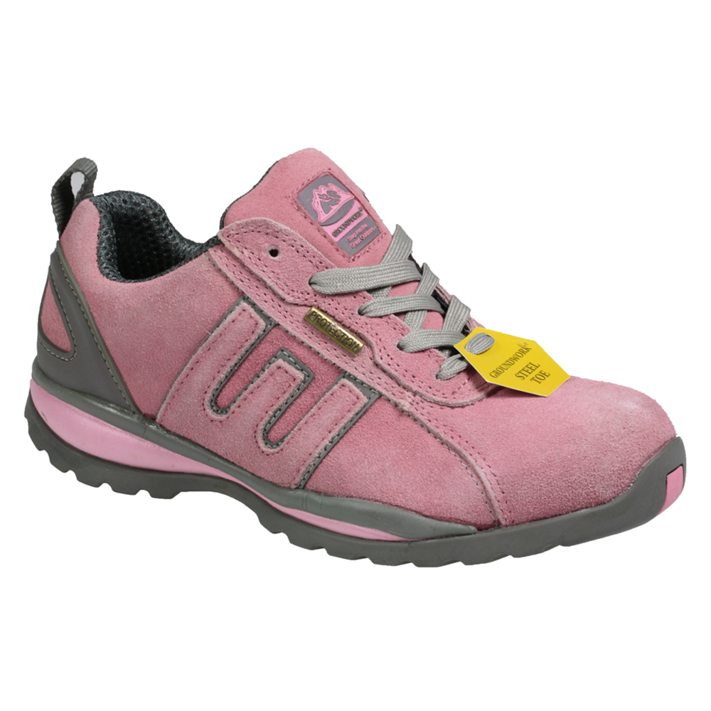womens gr86 steel toe safety industrial work pink shoes