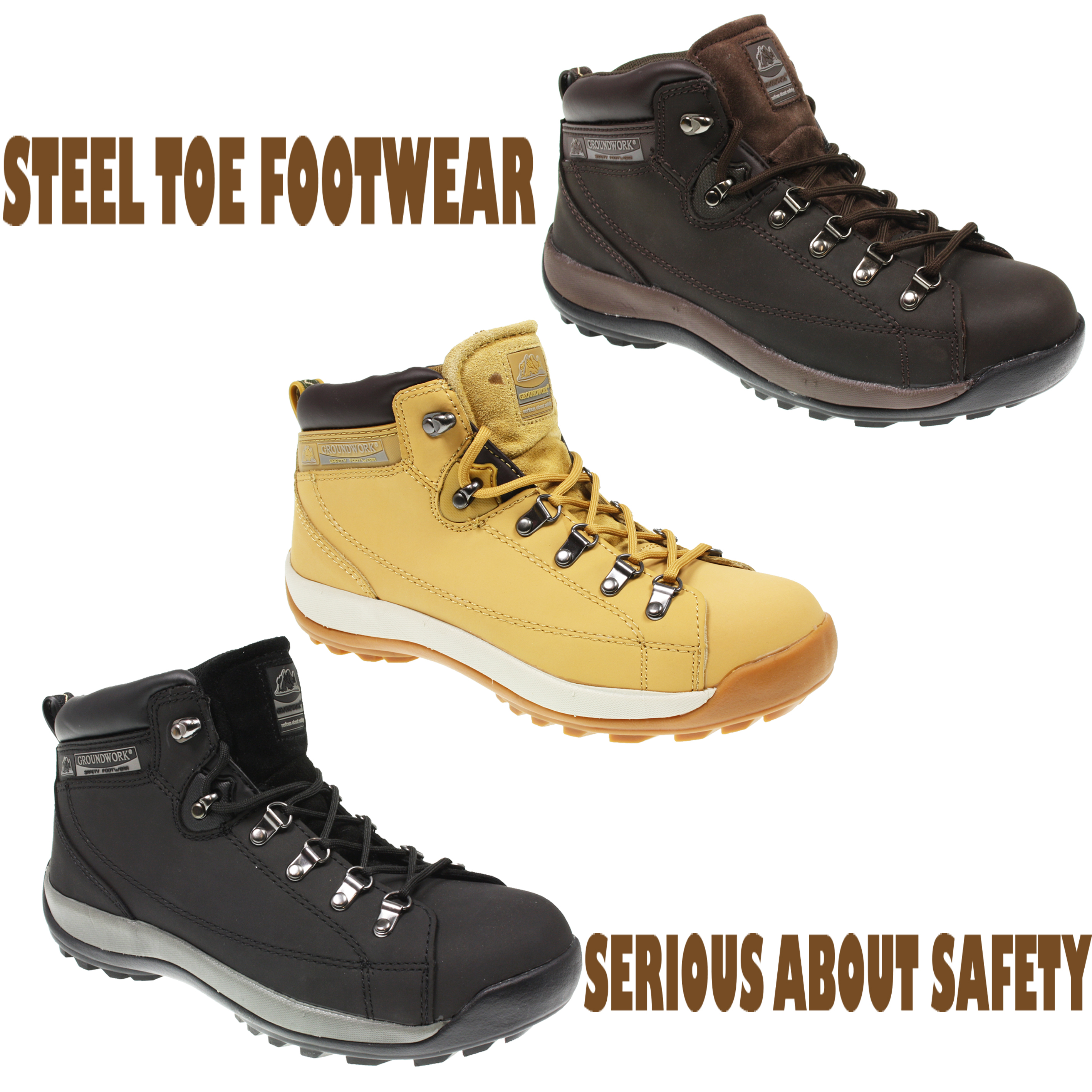 MENS GROUNDWORK LIGHTWEIGHT SAFETY STEEL TOE CAP WORK TRAINERS ...