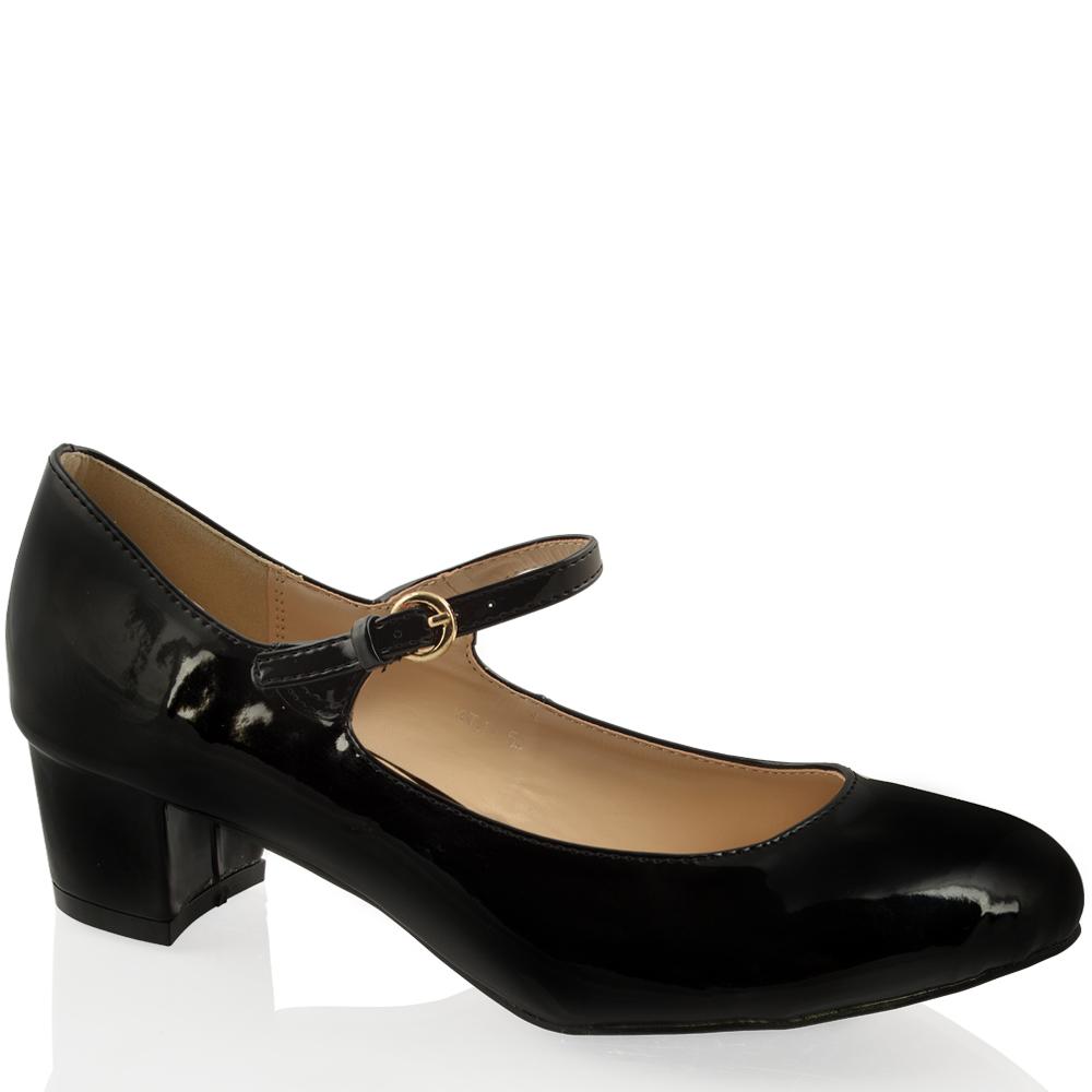 Womens Las Low Mid Block Heel Mary Jane