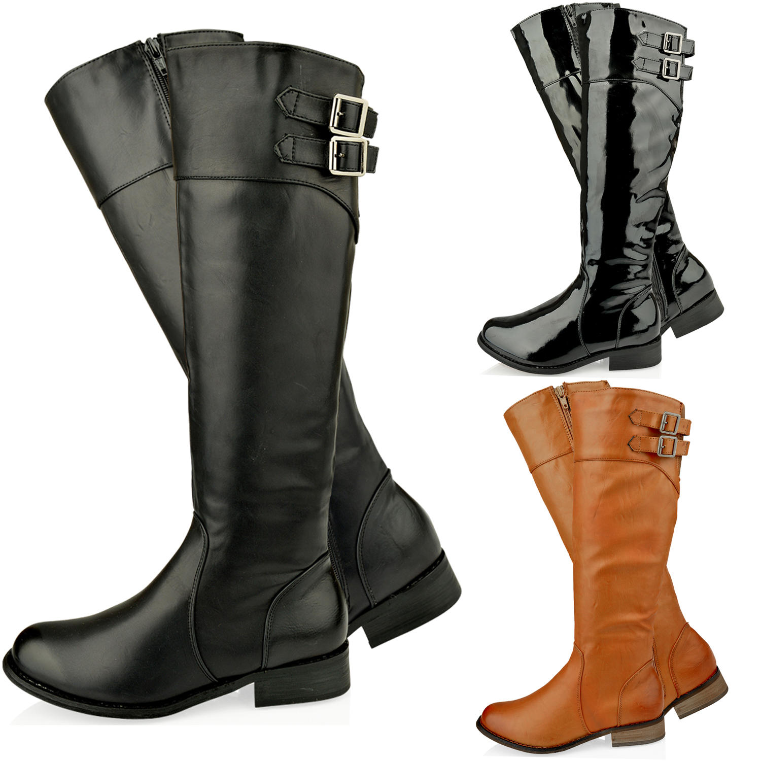 WOMENS-LADIES-KNEE-HIGH-FLAT-ZIP-FASHION-RIDING-WINTER-LOW-HEEL-BOOTS-SHOES-SIZE