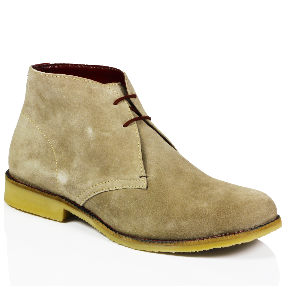 mens classic suede leather desert chukka casual mid lace ankle boots shoes size ebay. Black Bedroom Furniture Sets. Home Design Ideas