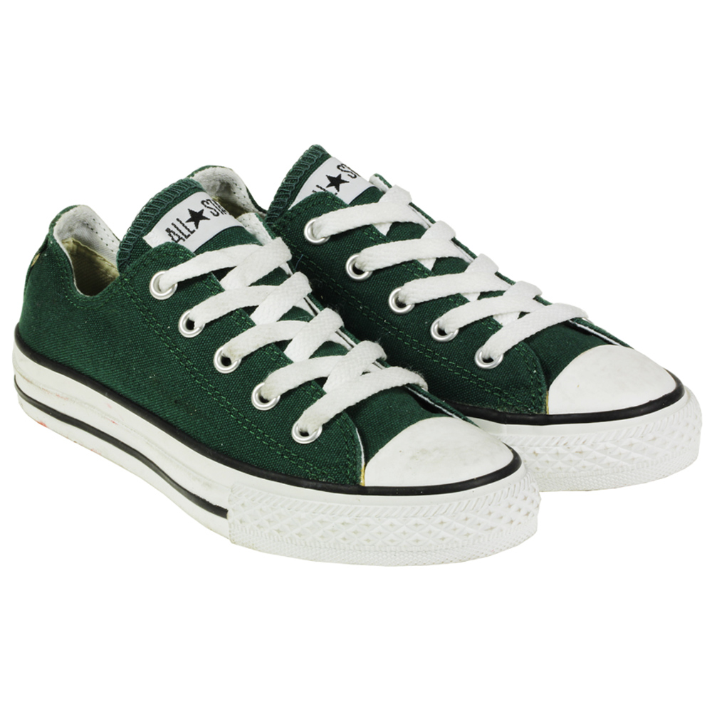 youths kids converse all star green canvas lo top trainers. Black Bedroom Furniture Sets. Home Design Ideas