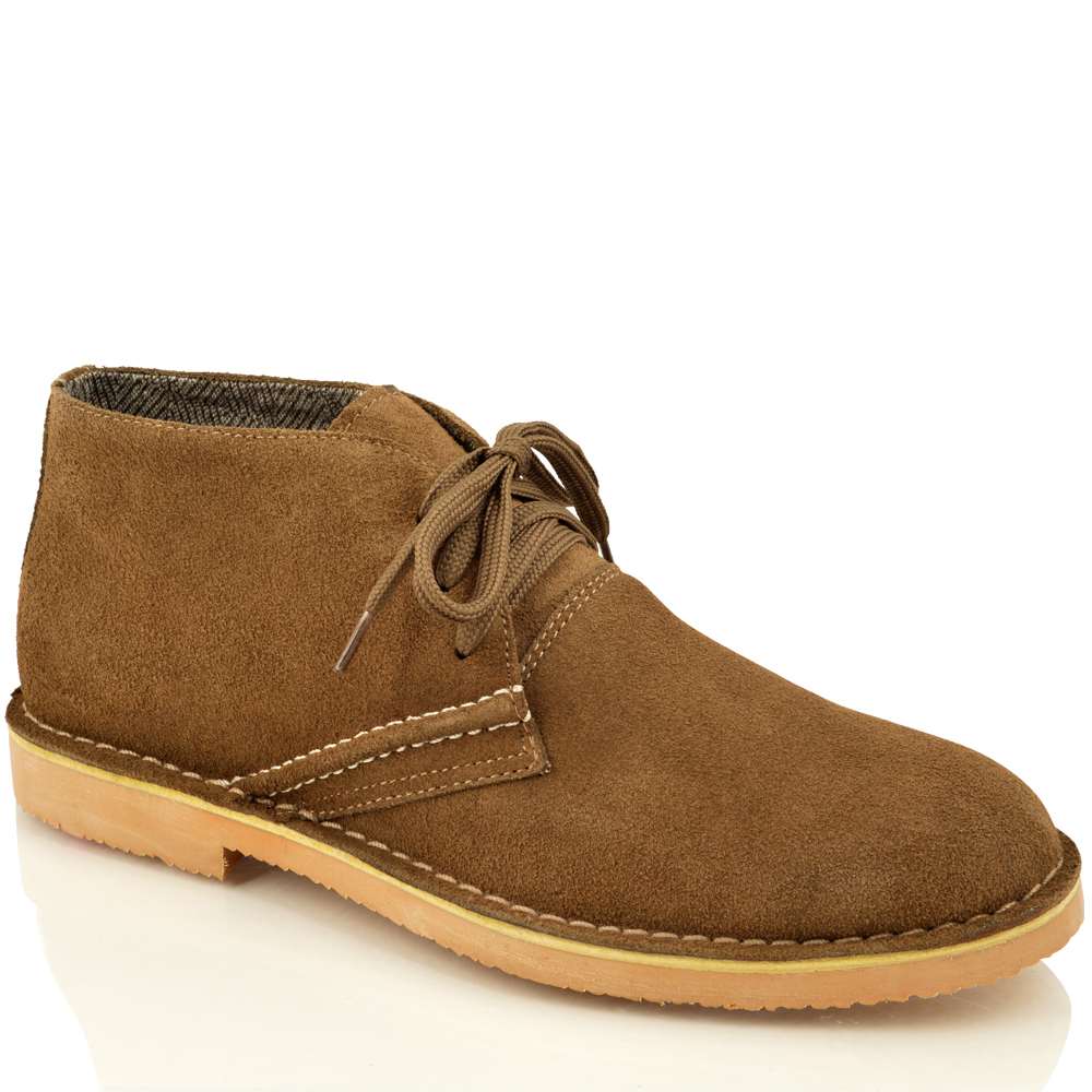 mens classic faux suede leather desert chukka casual ankle