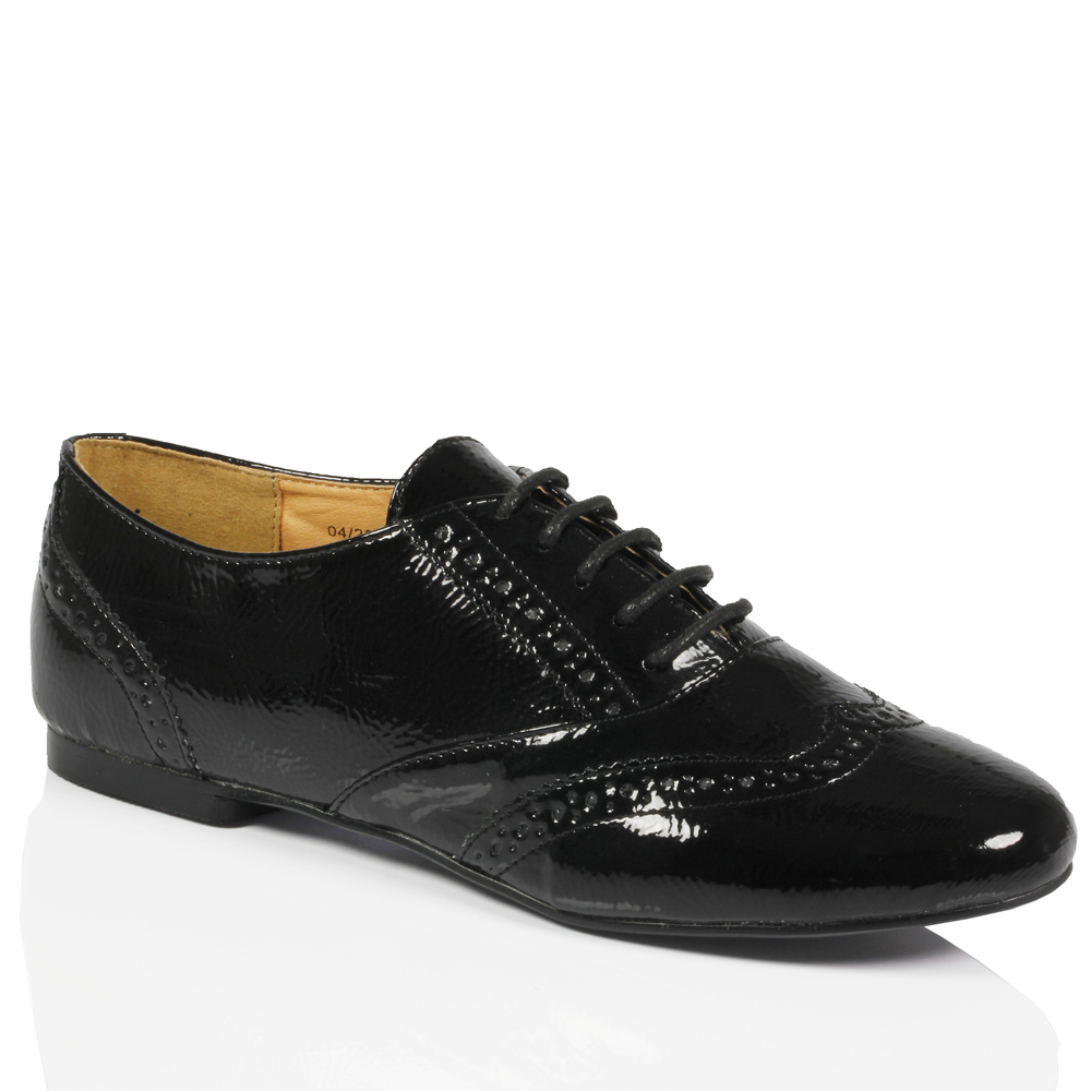 womens oxford brogue lace up pumps faux leather