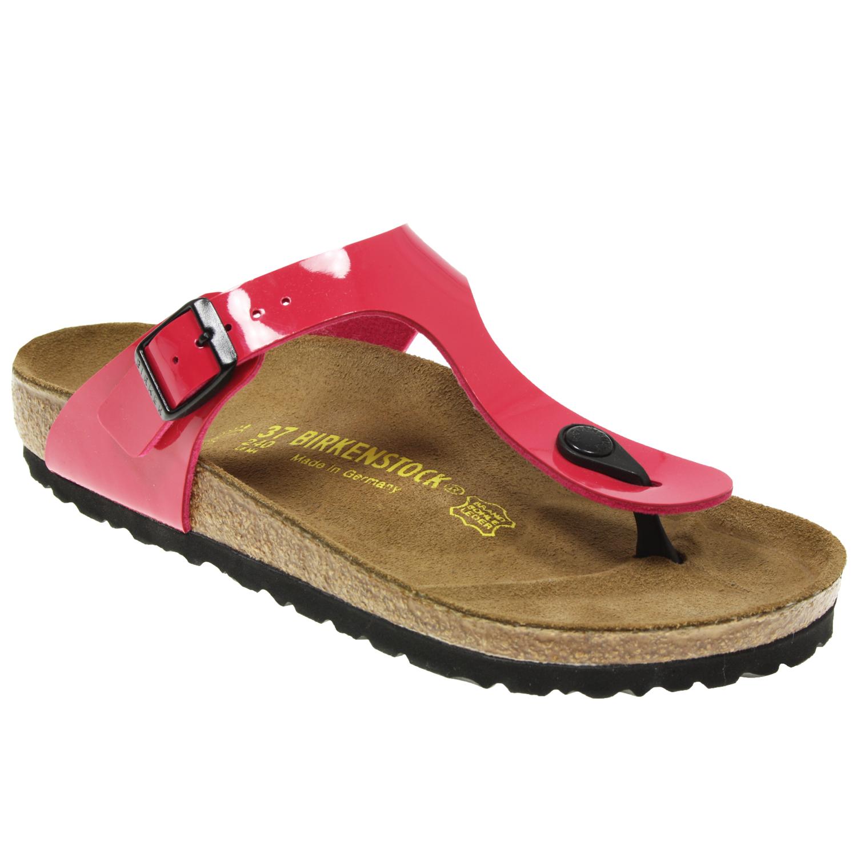 womens ladies birkenstock gizeh pink patent summer sandals. Black Bedroom Furniture Sets. Home Design Ideas