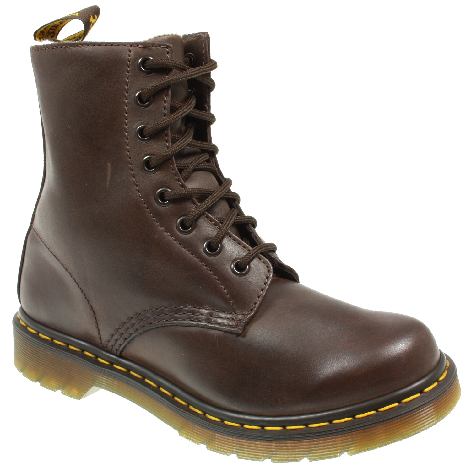 womens dr martens serena 8 eye fur lace up ankle brown