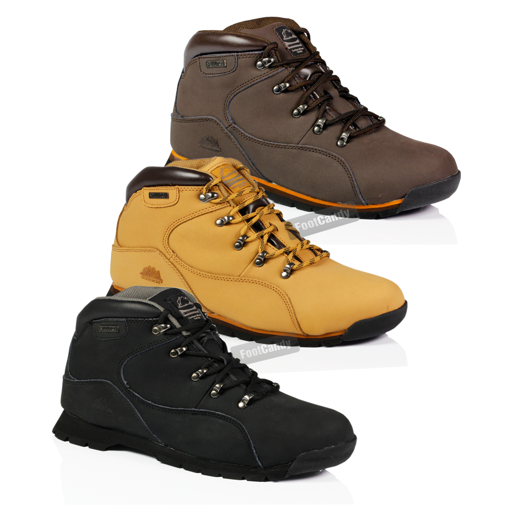 MENS STEEL TOE LEATHER WORK SAFETY LIGHTWEIGHT ANKLE ...