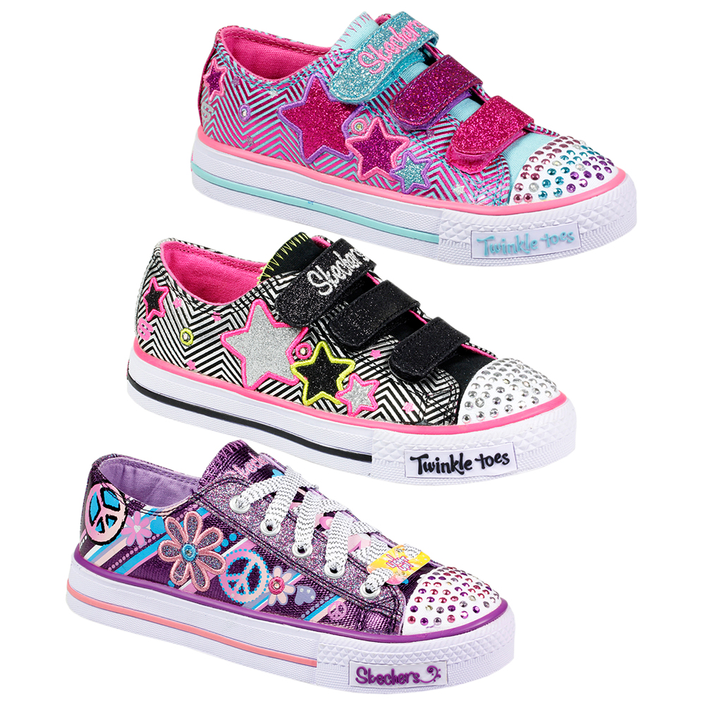 KIDS GIRLS SKECHERS VELCRO LACE UP TWINKLE TOES LIGHT UP TRAINERS SHOES SIZE | EBay