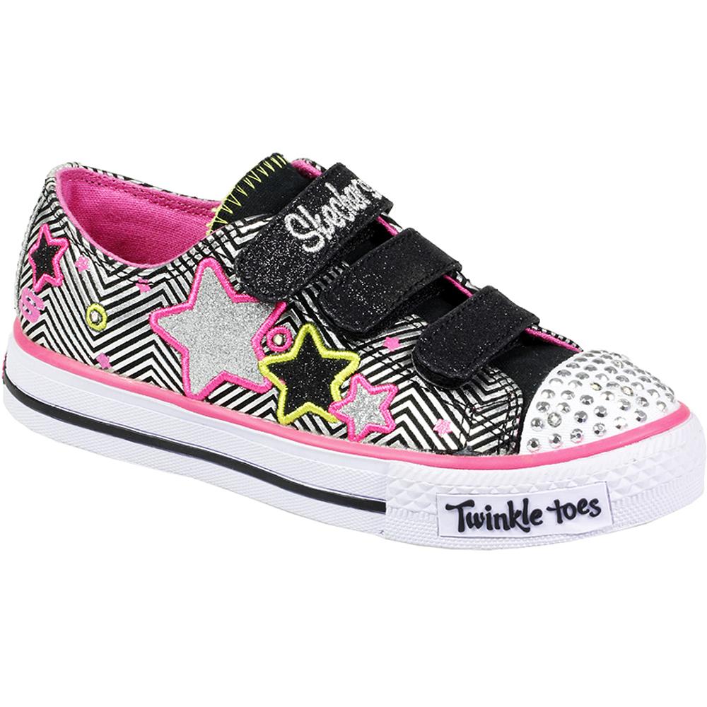 kids girls skechers velcro lace up twinkle toes light up. Black Bedroom Furniture Sets. Home Design Ideas