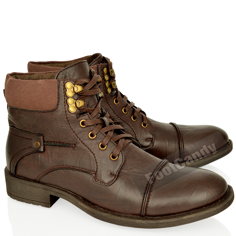 mens leather army biker combat lace up low heel