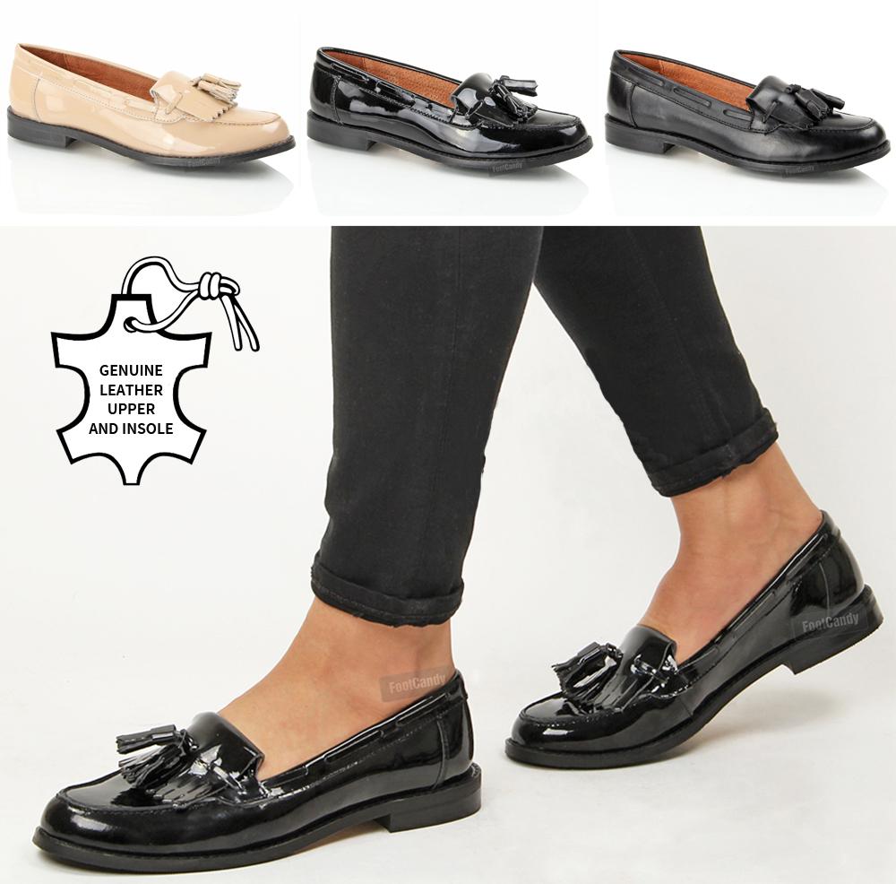 womens leather tassel fringe comfort slip on office
