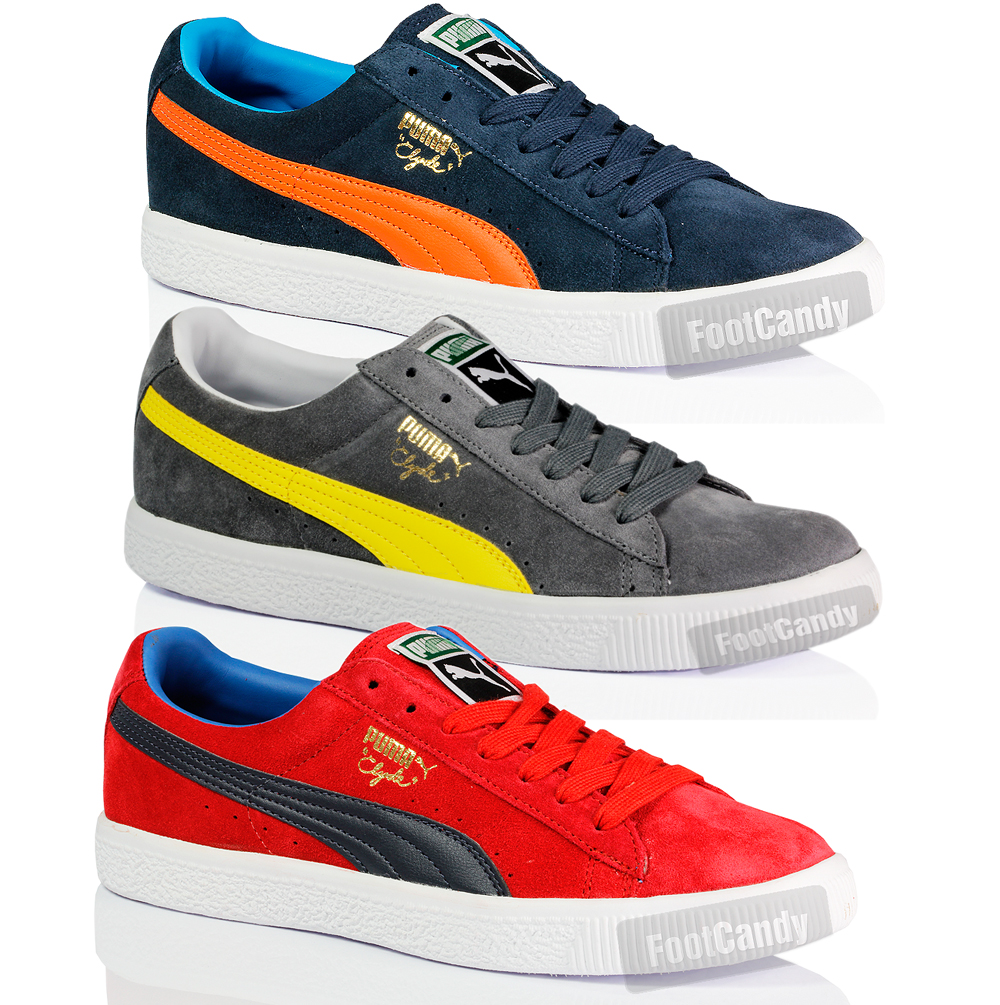 ... BOYS PUMA CLASSIC SUEDE LEATHER SKATE CLYDE SCRIPT TRAINERS SHOES SIZE