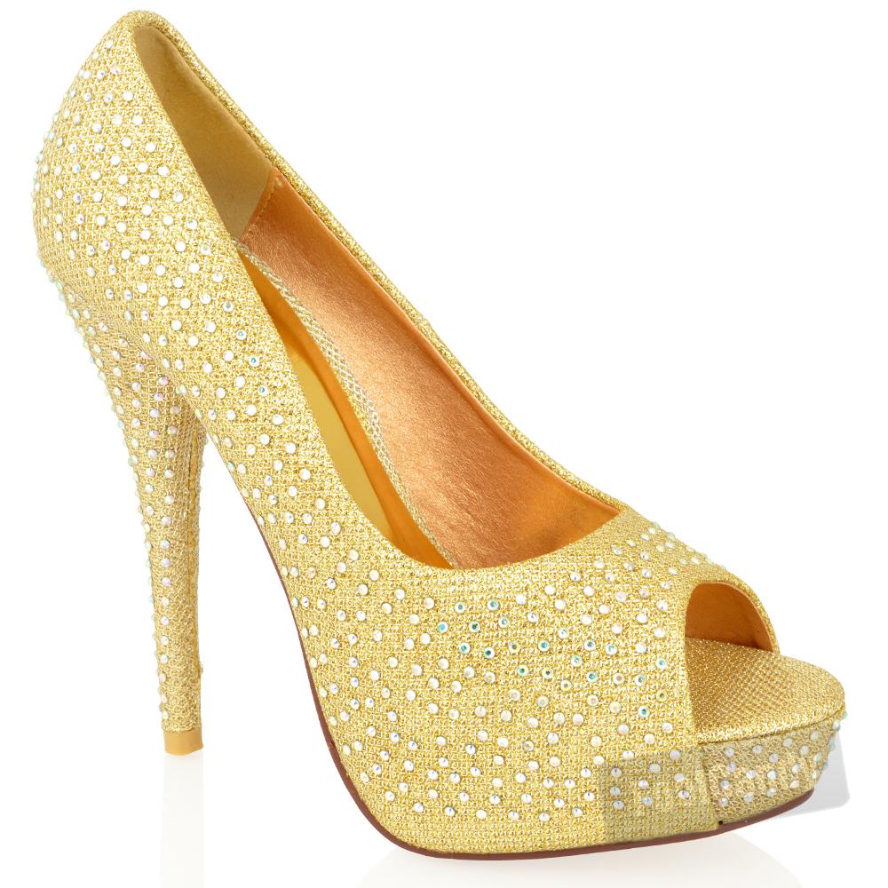 Stiletto-Womens-Peep-Toe-Shoes-High-Heel-Glitter-Diamante-Wedding-Size
