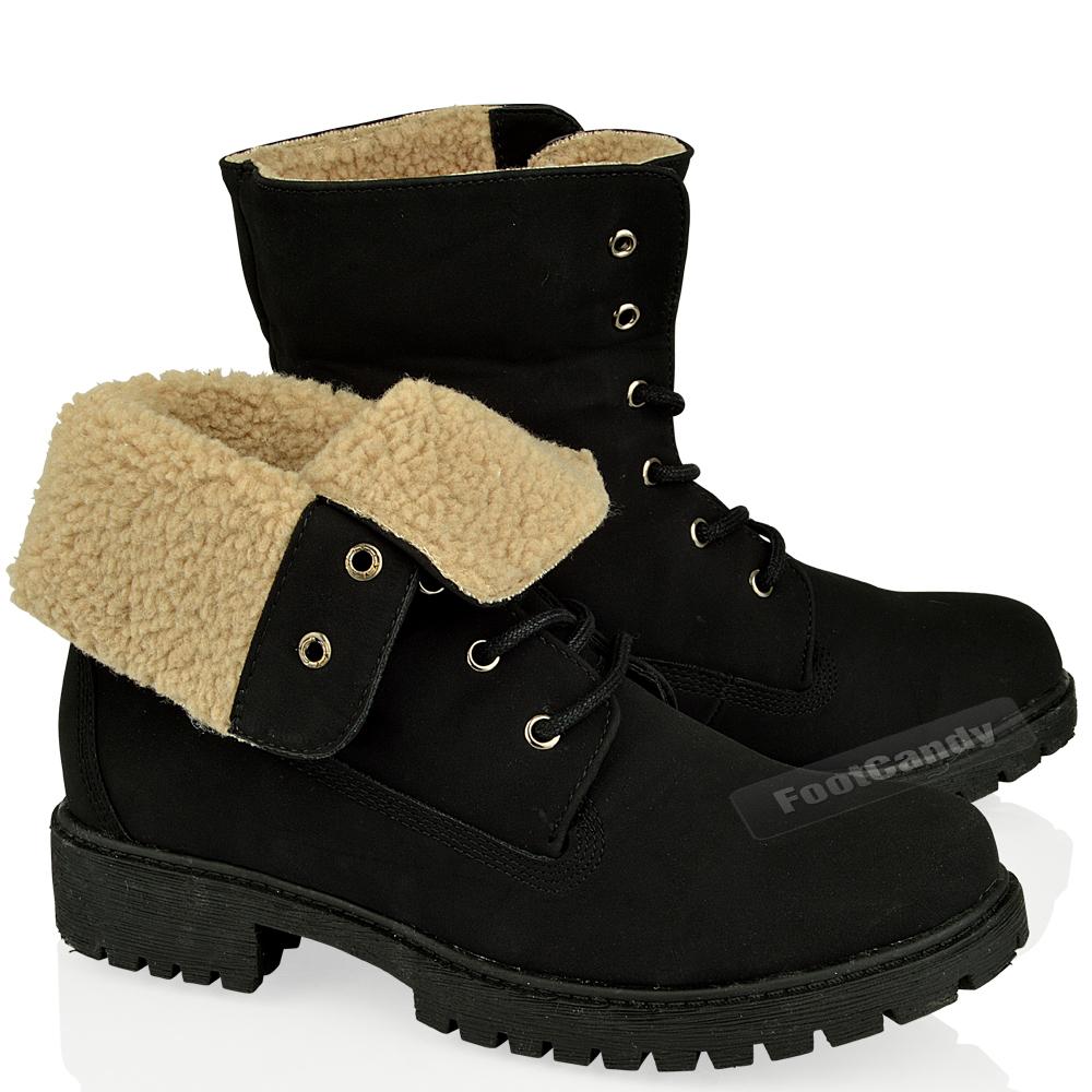 womens army combat low heel grip fur lined winter