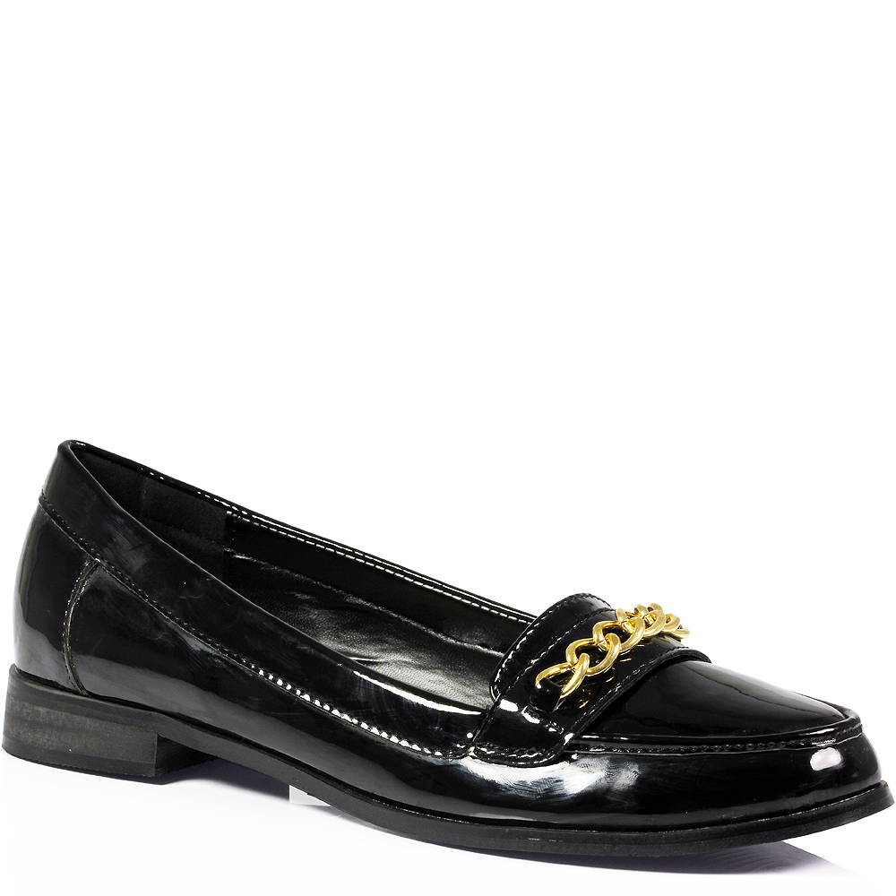 Womens Ladies Office Work Flat Vintage Chain Faux Leather