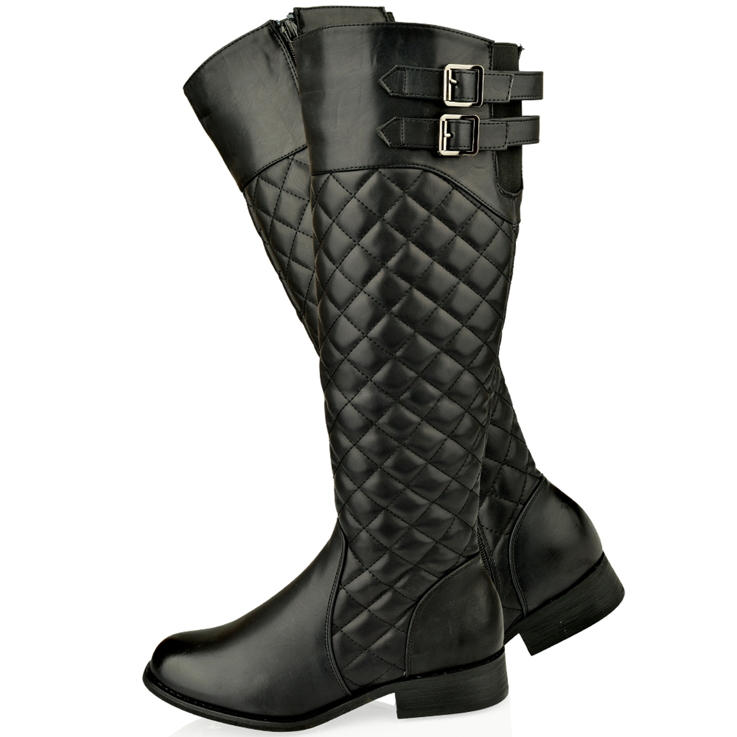 WOMENS LADIES FLAT KNEE HIGH QUILTED RIDING CALF BOOTS GUSSET FAUX ... : quilted long boots - Adamdwight.com