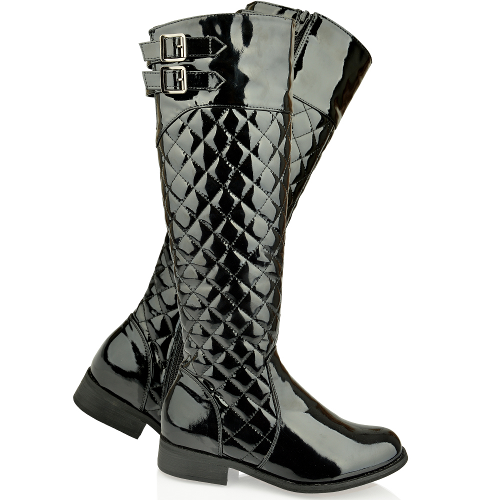 Womens Ladies Flat Knee High Quilted Riding Calf Boots