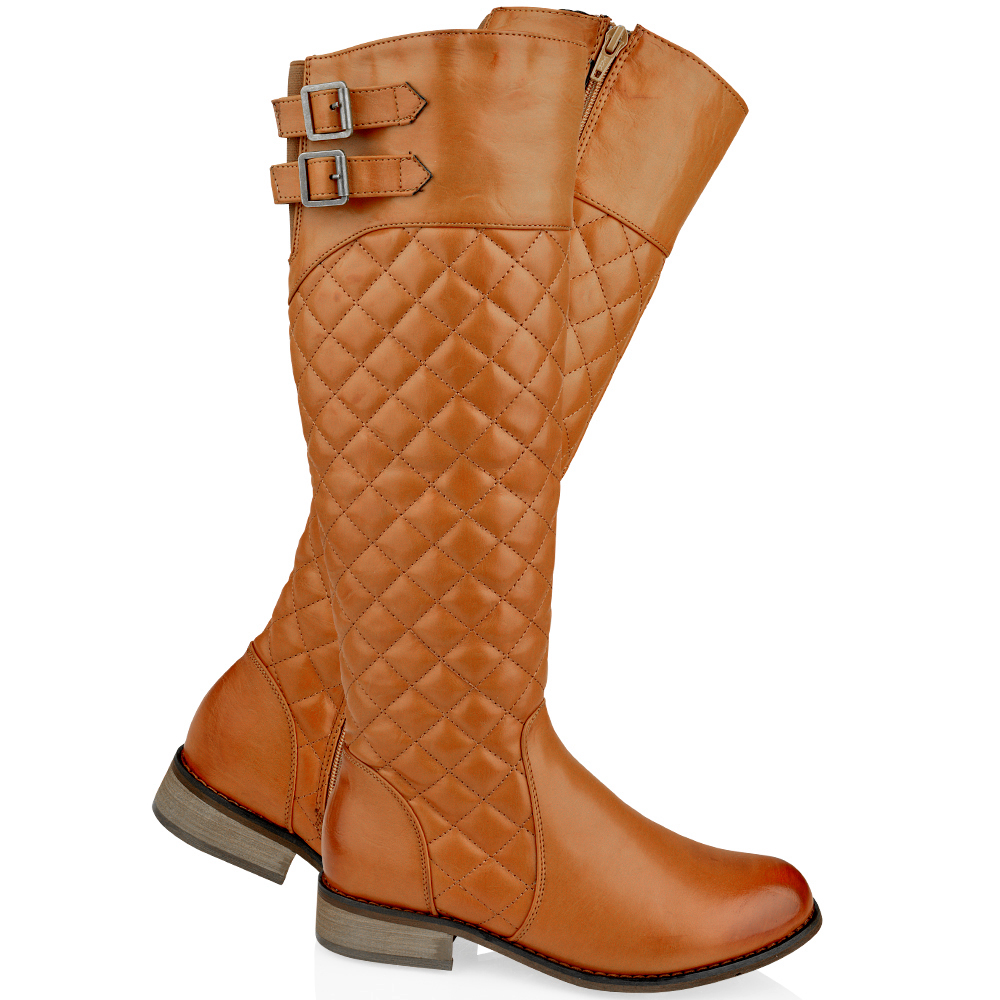 WOMENS LADIES FLAT KNEE HIGH QUILTED RIDING CALF BOOTS GUSSET FAUX ...