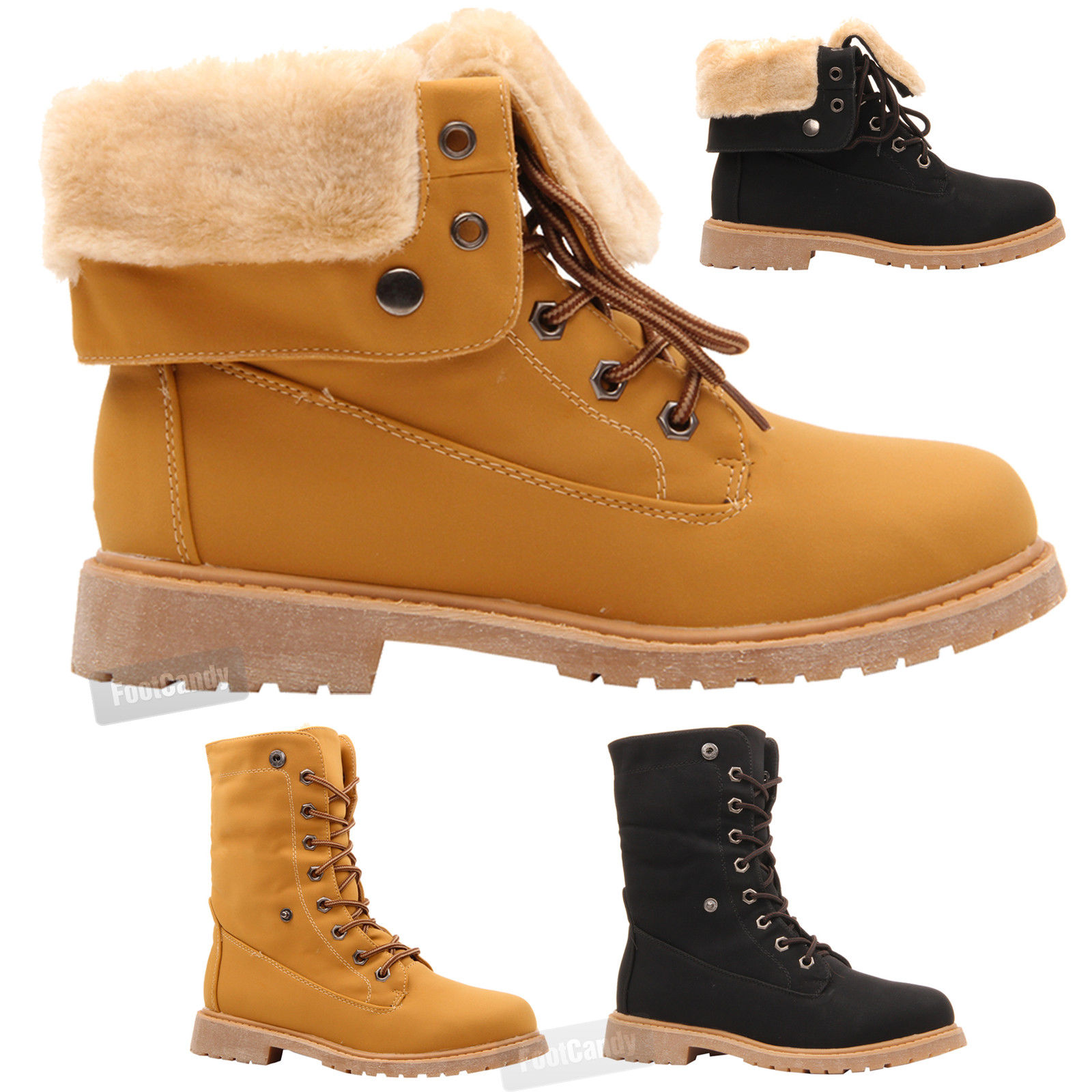 Womens Ladies Flat Lace Up Fur Lined Combat Winter Ankle Work Boots Shoes Size | EBay