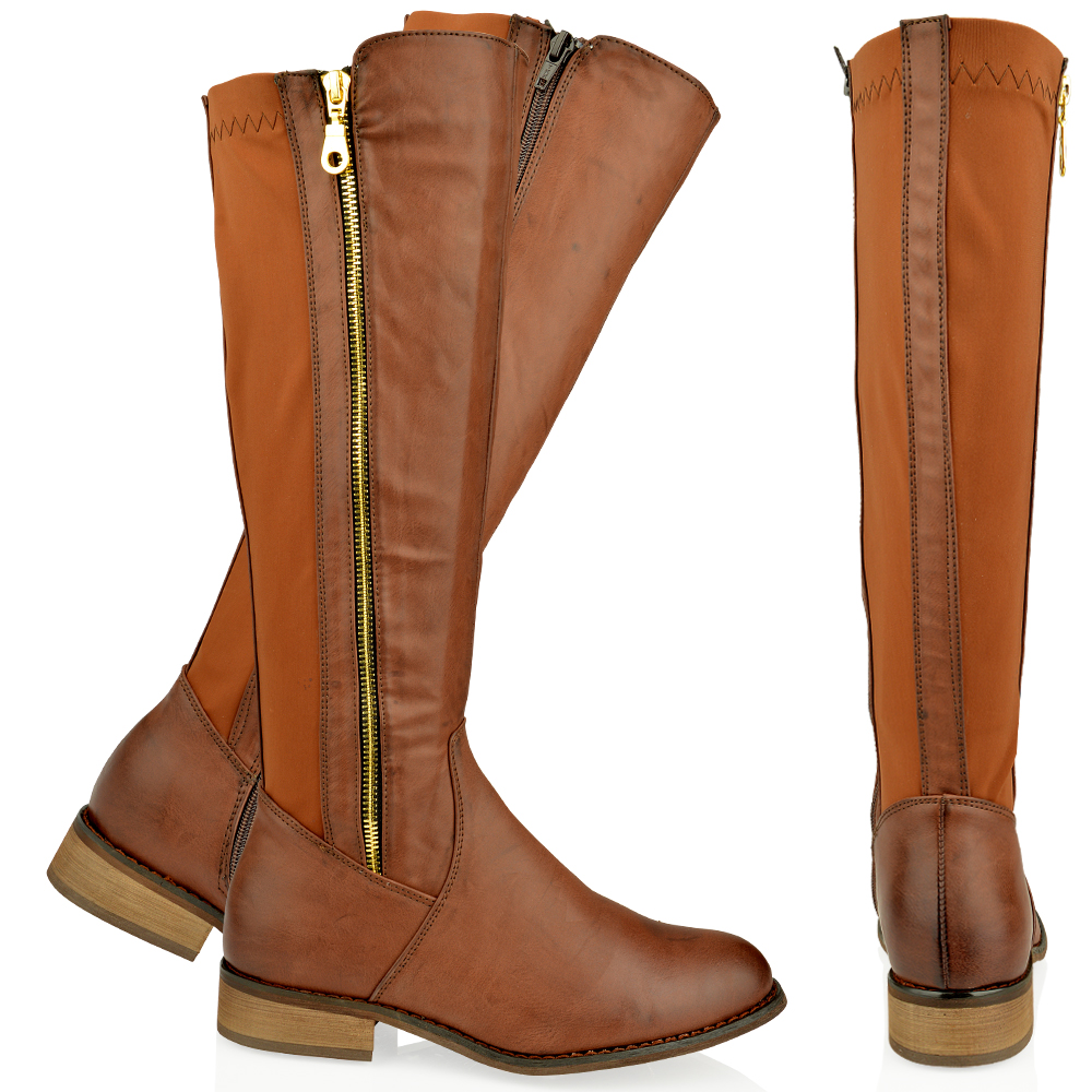WOMENS LADIES FLAT KNEE HIGH RIDING CALF BOOTS GUSSET GOLD ZIP ...