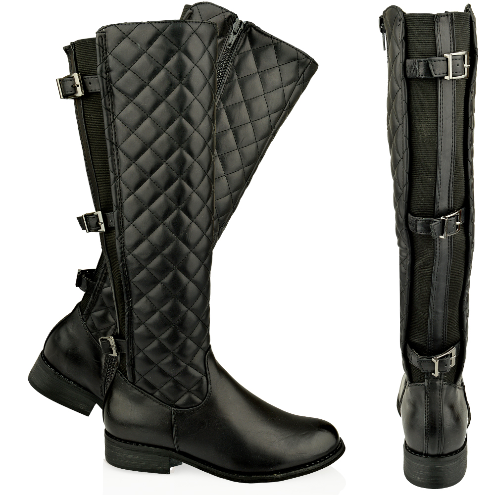 Womens Ladies Flat Knee High Quilted Calf Boots Gusset