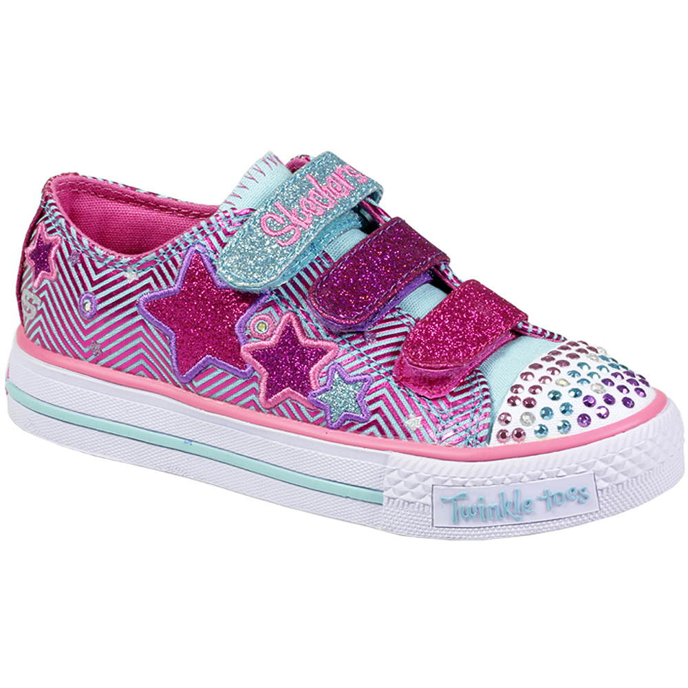 skechers velcro lace up twinkle toes light up