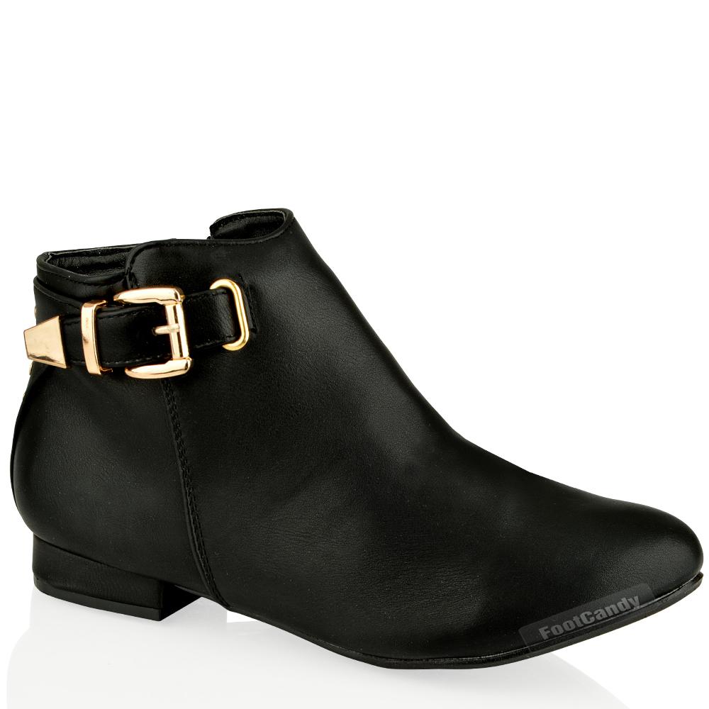 womens low heel suede ankle buckle shoe boots zip