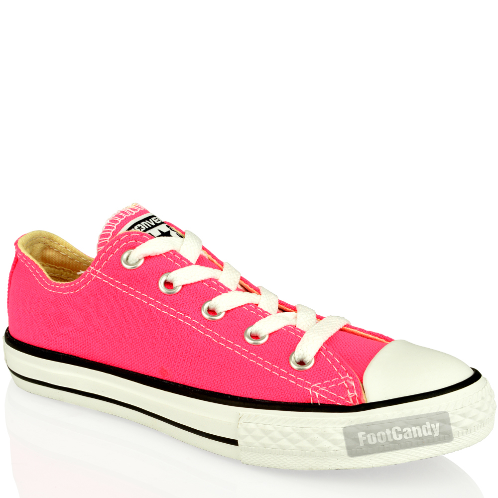 Converse-Kids-All-Star-Chuck-Taylor-339790-Pink-Canvas-Lo-Trainers-Shoes-Size