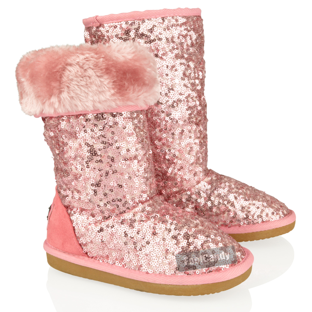 KIDS GIRLS MID CALF GLITTER SEQUIN FUR SLIP ON FLAT BOOTS SNUGG ...
