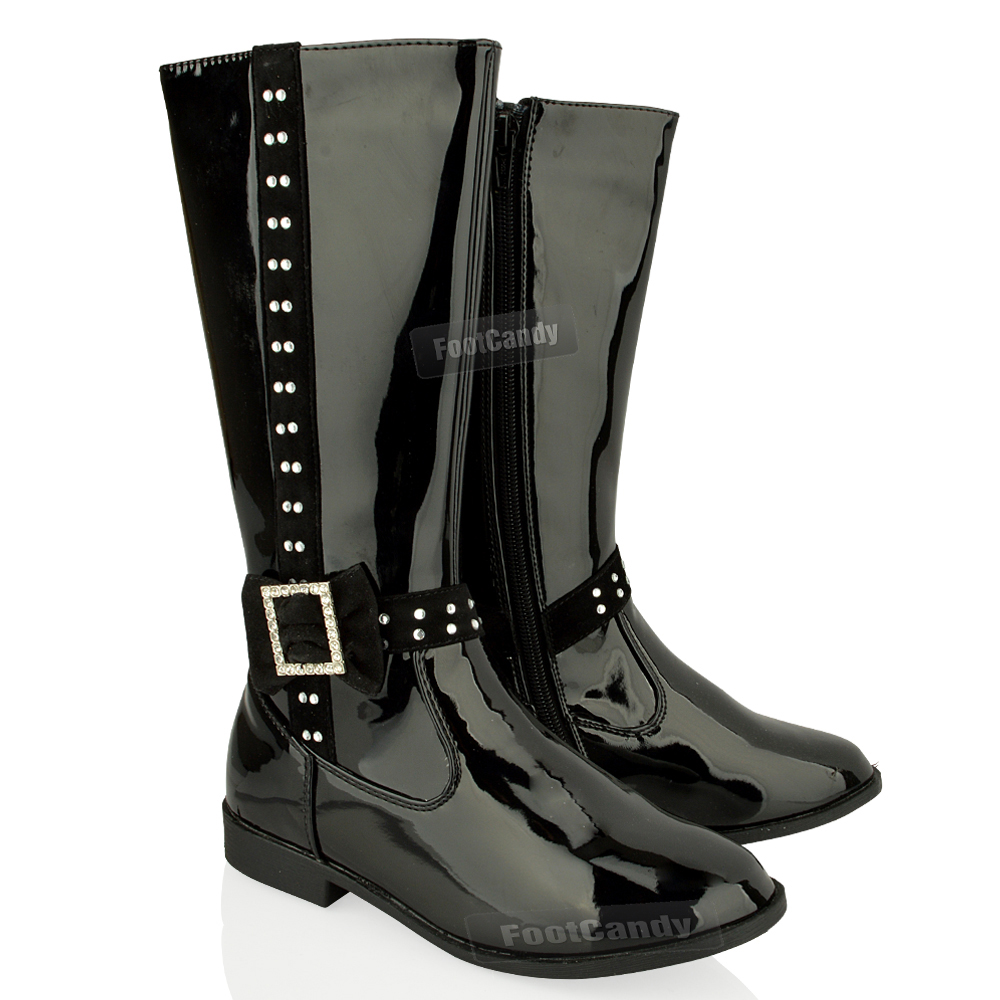 KIDS-GIRLS-KNEE-HIGH-LOW-HEEL-FLAT-DIAMANTE-BOW-ZIP-PATENT-BOOTS-WINTER-SIZE